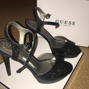 Brand New Guess Glitter Black High Heels